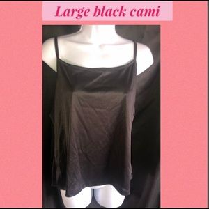 Tops - Large black silky cami.